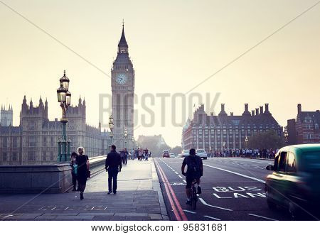 Westminster Bridge at sunset, London, UK