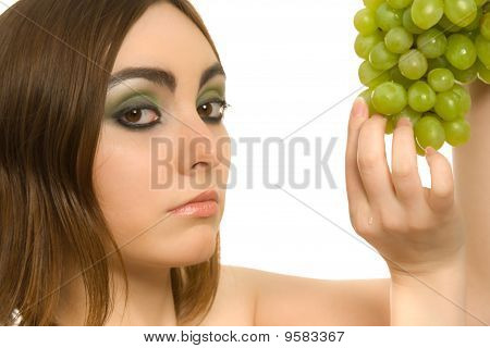 Woman With Bunch Of Green Grapes