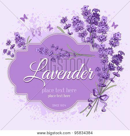 Gentle vintage label with hand drawn floral elements in engraving style - fragrant lavender. Vector illustration.