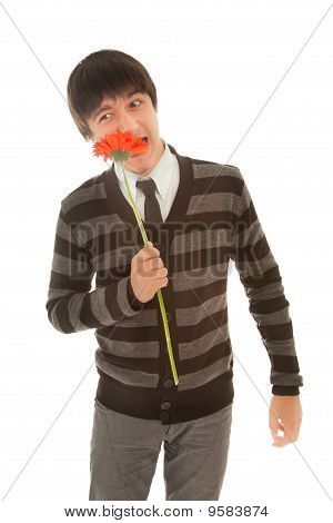Man With Red Gerbera Standing On The White Background
