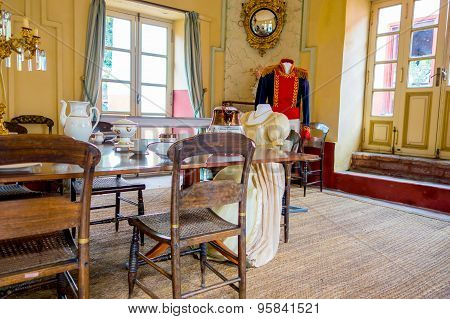 Dining room inside Museum Quinta of Simon Bolivar, that served as his residence after the independen