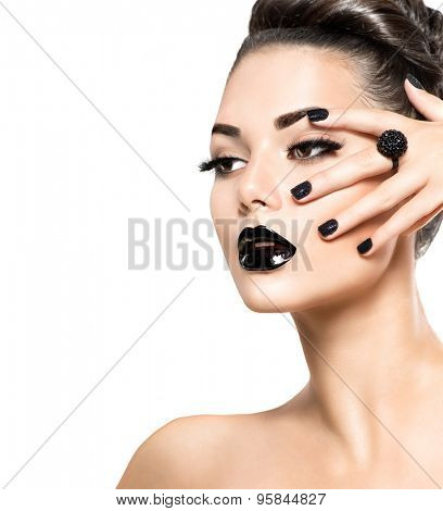Beauty Fashion Model Girl with Black Make up, Long Lushes. Fashion Trendy Caviar Black Manicure. Nail Art. Dark Lipstick and Nail Polish. Isolated on white background