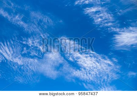 Blue Sky And Cirrus And Stratus Clouds Background