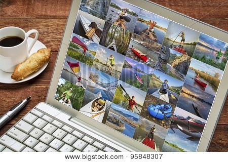 gallery of paddling pictures from Colorado featuring variety of boats and the same male model - reviewing images on a laptop - all screen pictures copyright be the photographer poster