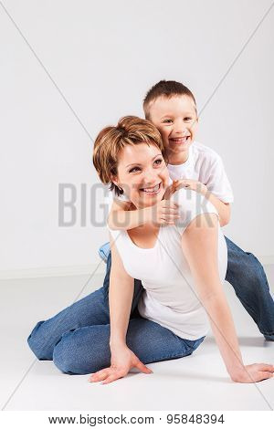 Happy woman with her son