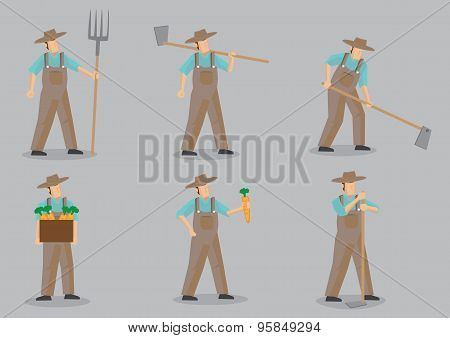 Farmer Vector Cartoon Character Set
