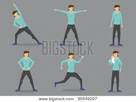 Athletic Woman In Tracksuit Exercising Vector Character Set