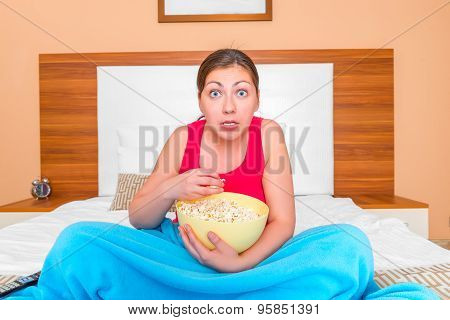 Portrait Of Entrained Girls Watching A Movie