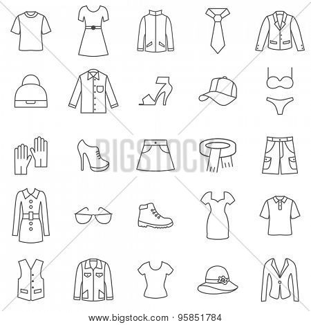 Clothes line icons set.Vector