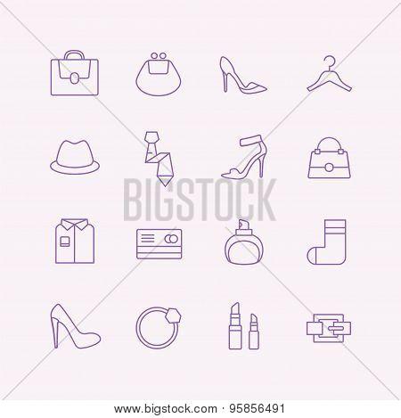 Shopping vector icons set. Fashion symbols. Interface elements. Stock illustration