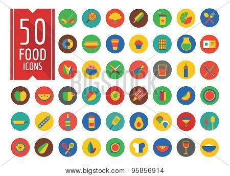 Food Icons Vector Set. Fruit, Kitchen and Drinks symbols. Stock design element