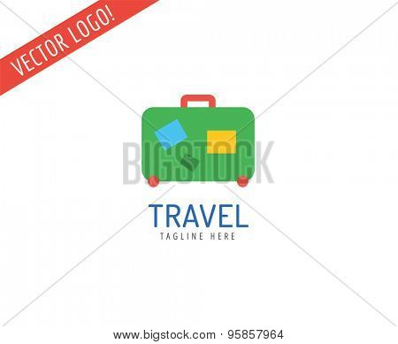 Travel bag vector logo icon. Sea, summer and holiday symbol. Stock design element