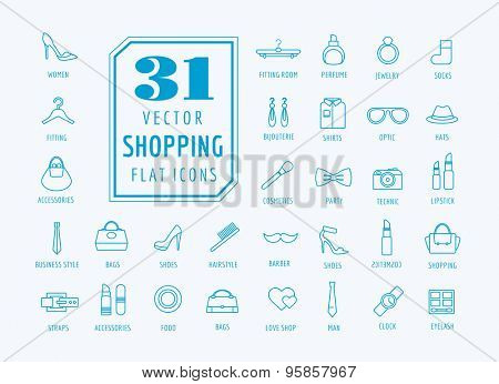 Shopping vector icons set and fashion symbols. Interface elements. Stock illustration.