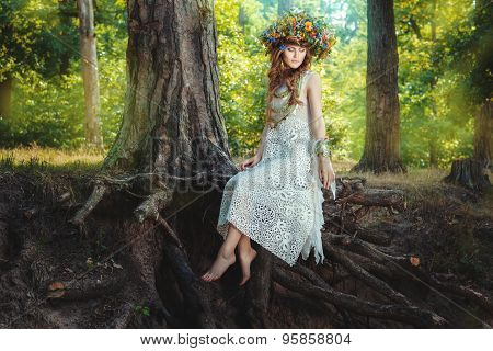 Girl Sits On A Tree In The Fairy Forest.