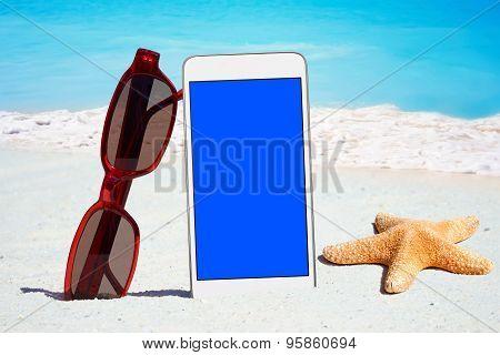 White Smartphone And Dark glasses