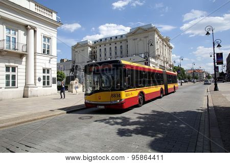 WARSAW, POLAND - SATURDAY, JUNE 6, 2015: A bus in Warsaw, owned and operated by ZTM.