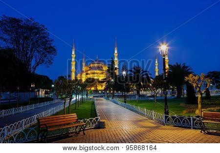 Blue mosque (Sultan Ahmed Mosque) in Istanbul at night Turkey poster