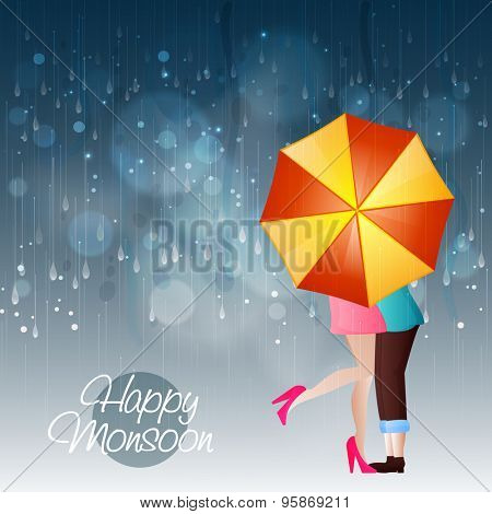 Young couple in love under an shiny umbrella in a rainy day for Happy Monsoon.