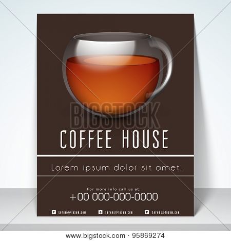 Stylish menu for coffee shop with address bar, place holder and mailer.