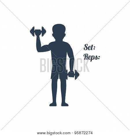 Man Raises Dumbbells Silhouettes Black Icon