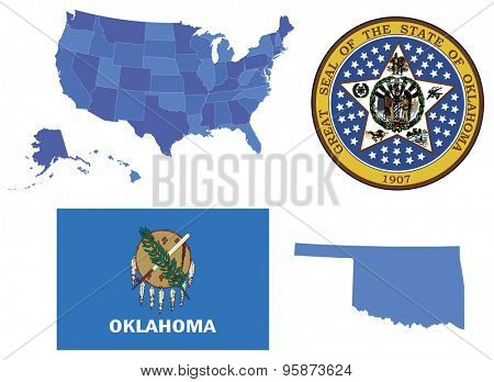 Vector Illustration of state Oklahoma,contains: High detailed map of USA High detailed flag of state Oklahoma High detailed great seal of state Oklahoma State Oklahoma, shape