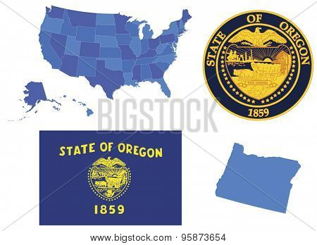 Vector Illustration of state Oregon,contains: High detailed map of USA High detailed flag of state Oregon High detailed great seal of state Oregon  State Oregon, shape