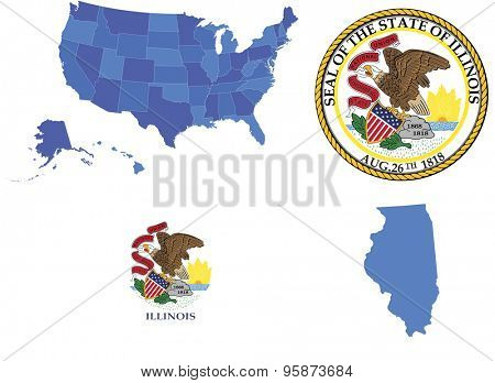Vector illustration of state Illinois, contains: High detailed map of USA High detailed flag of Illinois state High detailed great seal of state Illinois State Illinois, shape