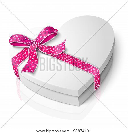 Vector realistic blank heart shape box with pink and white ribbon