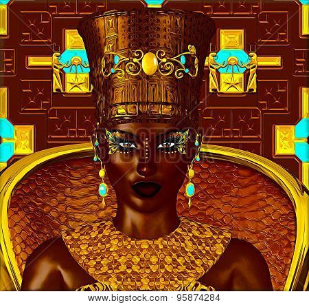 Black Egyptian princess in our modern digital art style, close up. The beauty, power and wealth of E