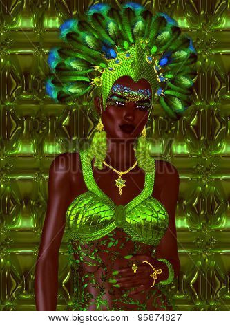 Carnival dancer woman in green feathers and headdress.