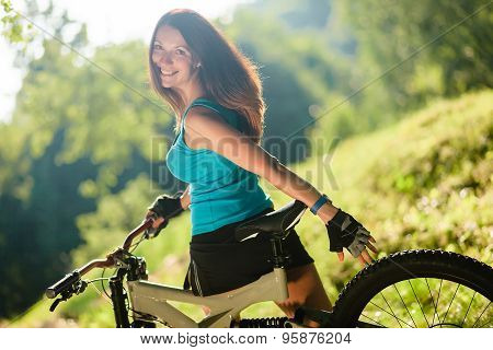 Beautiful Sport Girl With Bicycle Outdoor