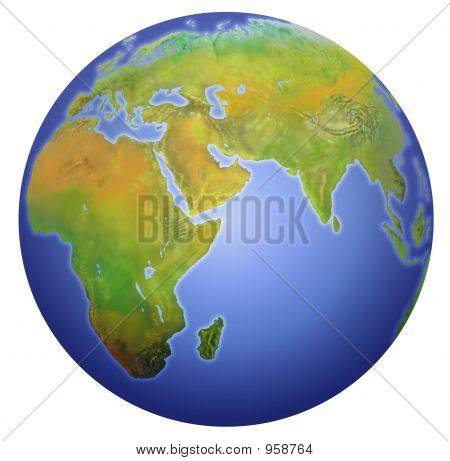 Earth Showing Europe, Asia, And Africa.