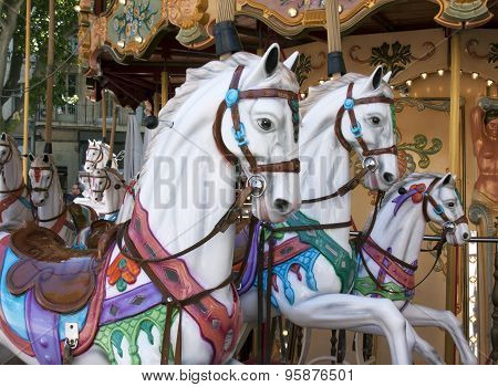 Wooden Horses In An Caroussel