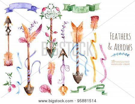 Hand painted watercolor collection for your design with romantic arrows, feathers, ribbons and banne