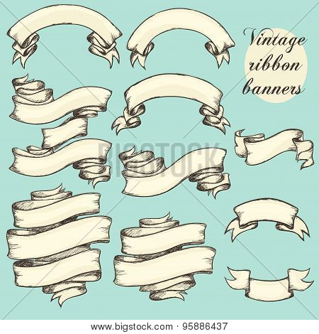 Vintage Ribbon Banners, Hand Drawn Set