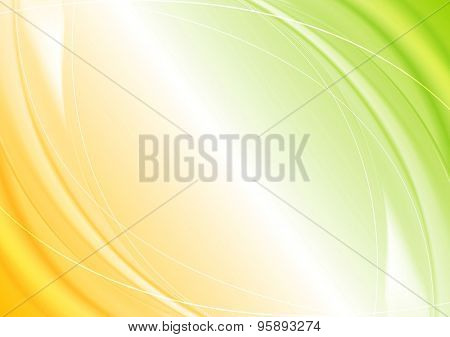 Abstract green orange wavy template design. Vector background
