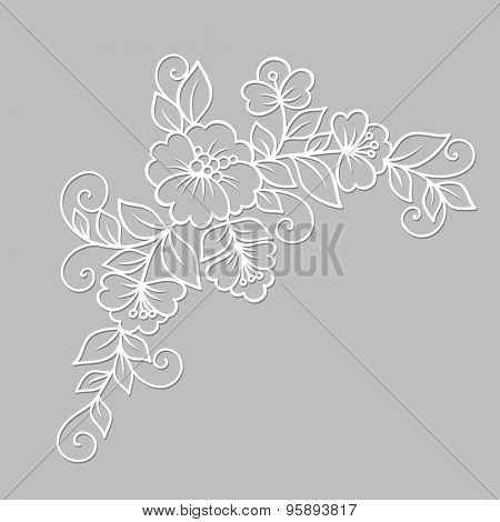 Oriental white flower beautiful ornament. Vector illustration.