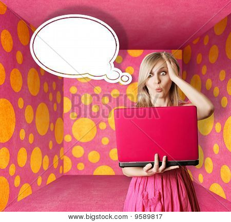 Blonde In Pink Dress With Laptop And Bubble