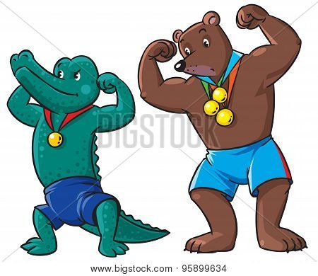 Bear and crocodile