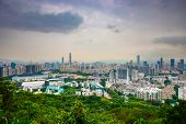 Shenzhen, China city skyline at twilight. poster