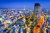 Osaka, Japan city skyline overlooking Namba District. poster