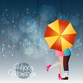 Young couple in love under an shiny umbrella in a rainy day for Happy Monsoon. poster