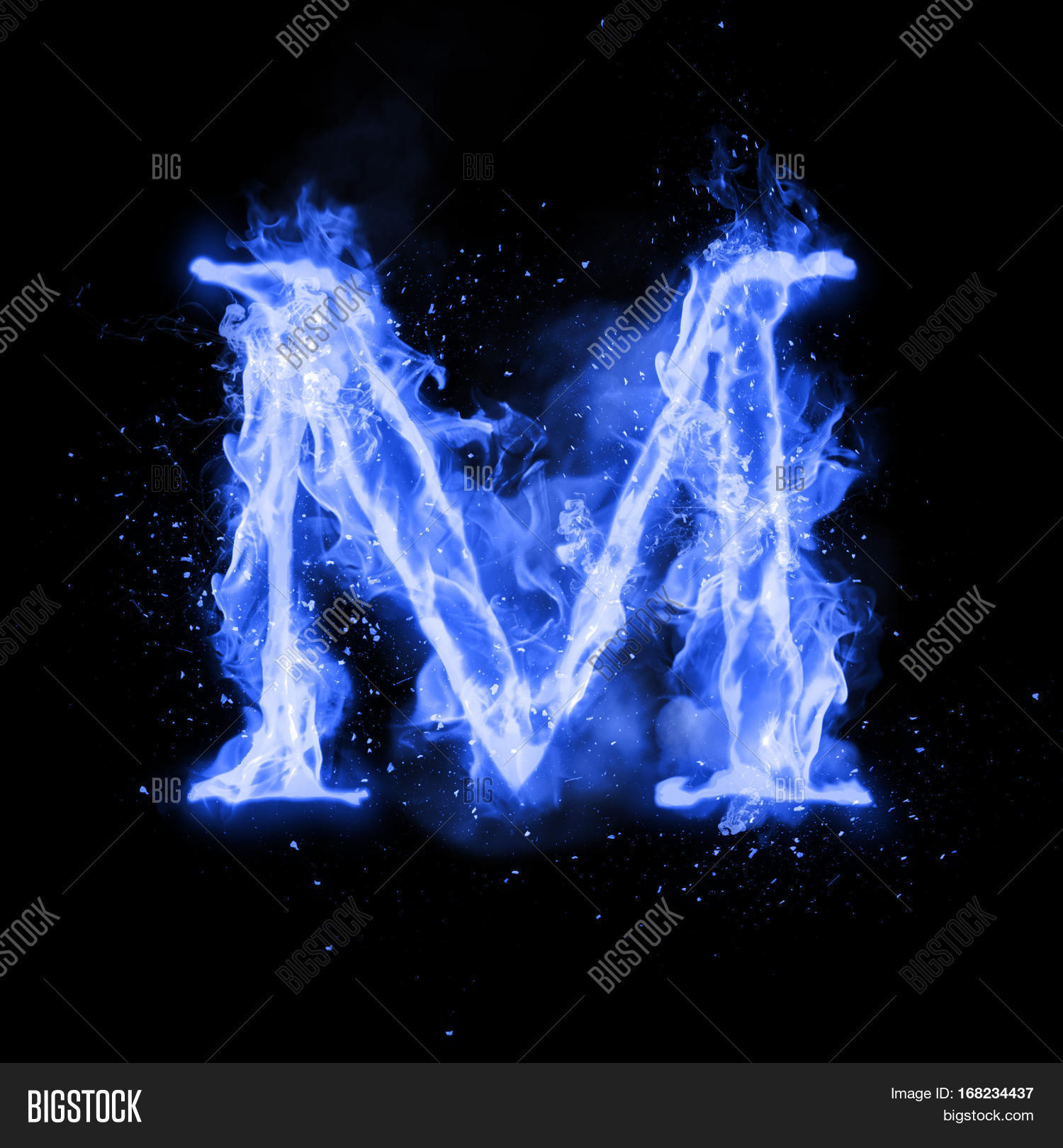 Fire Letter M Burning Blue Flame. Image & Photo | Bigstock