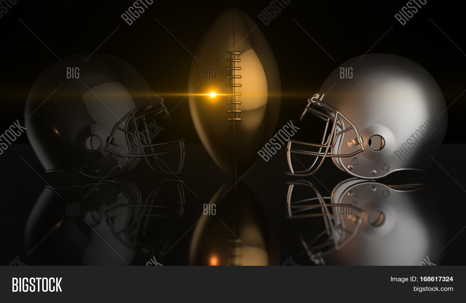 American Football Black And Gray Helmets Gold Trophy Ball On Dark Background 3d