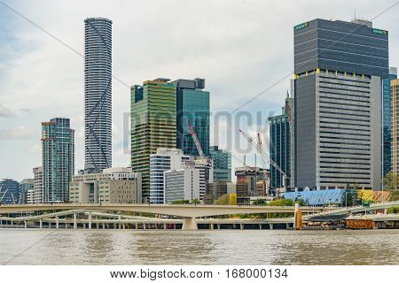 BRISBANE AUSTRALIA - NOVEMBER 19 2016: Central business district and the Pacific Motorway at North Quay in central Brisbane Australia.