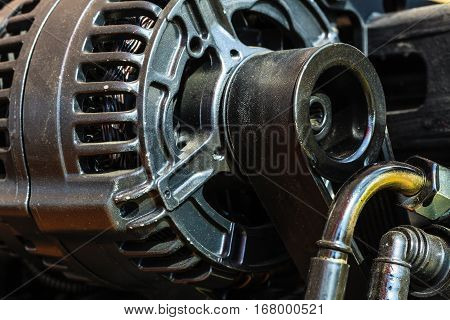 Detailed Closeup Of Alternator Generator Machine Engine