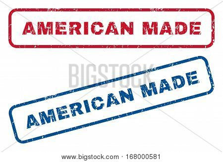 American Made text rubber seal stamp watermarks. Vector style is blue and red ink tag inside rounded rectangular shape. Grunge design and dust texture. Blue and red signs.