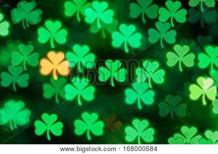 St Patricks Day green shamrock light bokeh background - bokeh of St Patricks Day  symbol. St Patricks Day  card. St Patricks Day  background