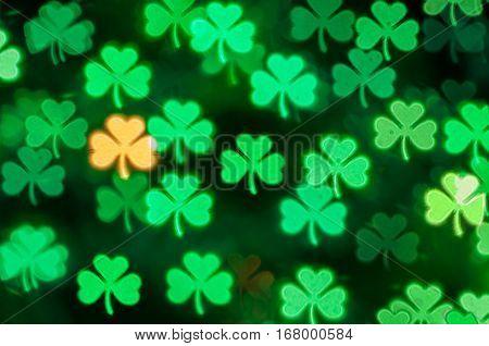 St Patricks Day green shamrock light bokeh background - bokeh of St Patricks Day  symbol. St Patricks Day  card. St Patricks Day  background