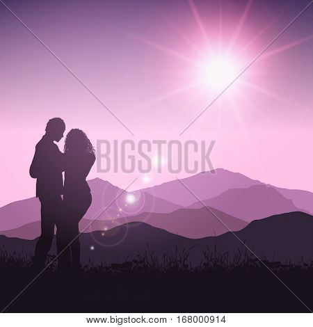 Silhouette of a Valentine's couple in grassy sunset landscape
